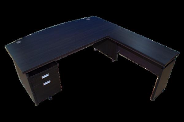 Echo 1800x1800 Exec Desk w/Pedestal - Bk/Walnut