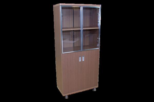 Echo 4-S Cabinet w/Glass & Solid Doors - Pine