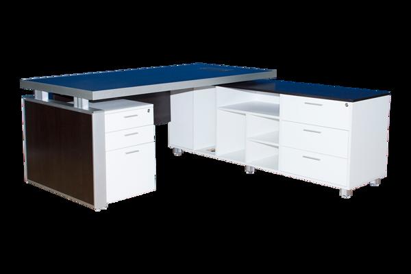 Infinity 1800 Desk + Side Cabinet & Ped. WW/BR