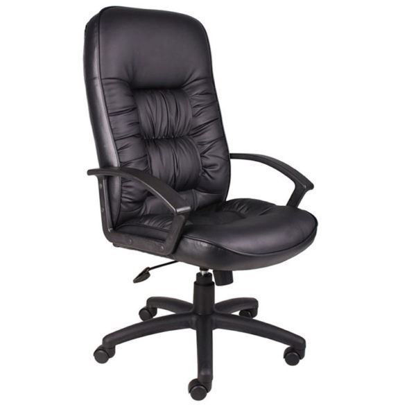 Boss High Back Exec. Leather Plus Chair - Black