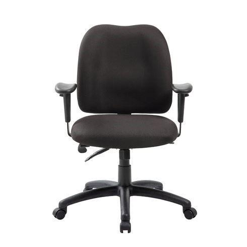 Boss Medium Back Adjustable Chair w/arms - Bk