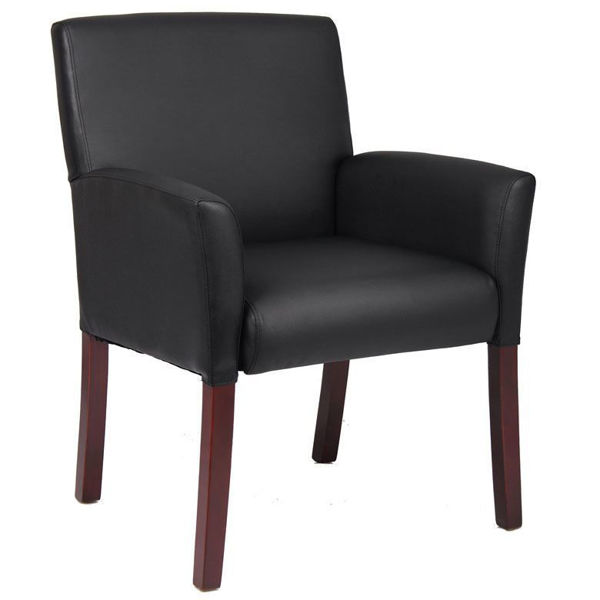 Boss Med. Back Mahogany Col. Reception  Chair - Black