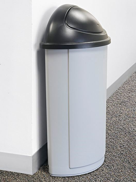 R/Maid Half-Round Waste Basket w/Lid Grey 21gal #3520