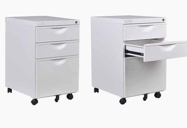 Bizoe Metal 3-Drawer Pedestal (Grey)