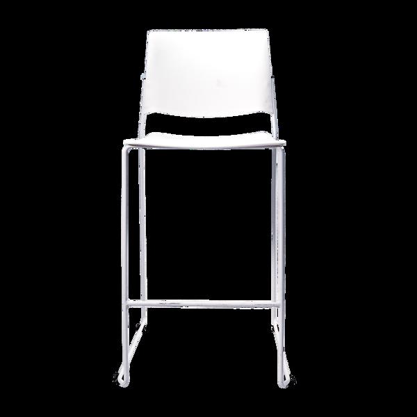 Image Bar Stool w/Chrome Frame - White