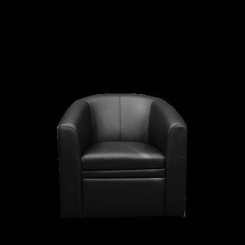 Image 1-Seater PU Bucket Sofa - Black
