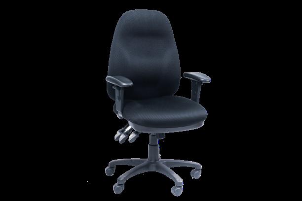 Image 3 Lever Heavy Duty Medium Back Chair w/Arms - Black