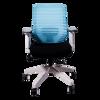 Anji High Back White Frame Mesh Chair w/arms- Blue
