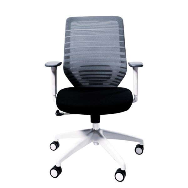 Anji High Back White Frame Mesh Chair w/arms- Grey