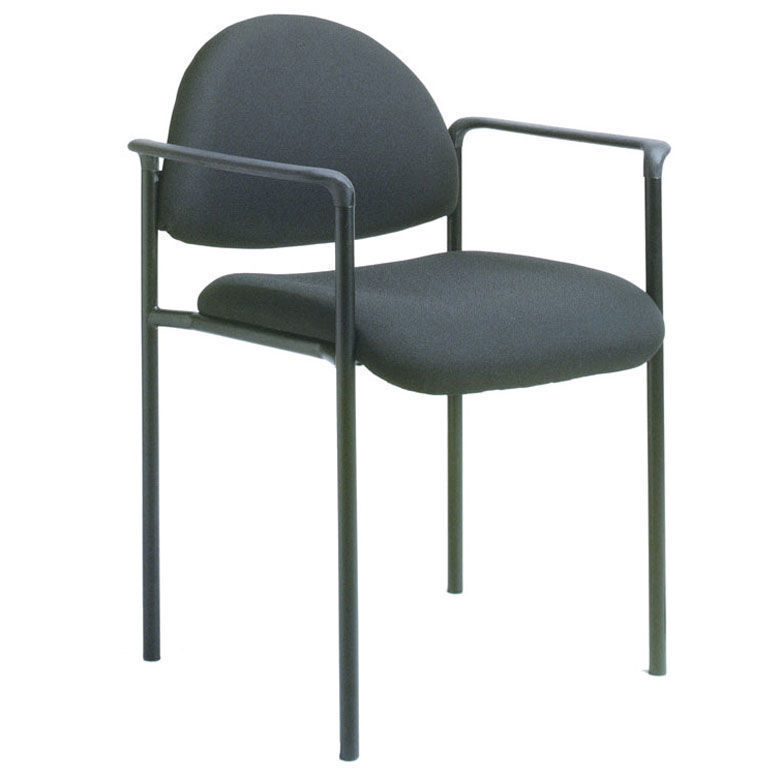 Boss Stackable Side Chair w/Arms - Black