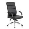 Boss High Back Chrome & Vinyl Exec. Chair - Black
