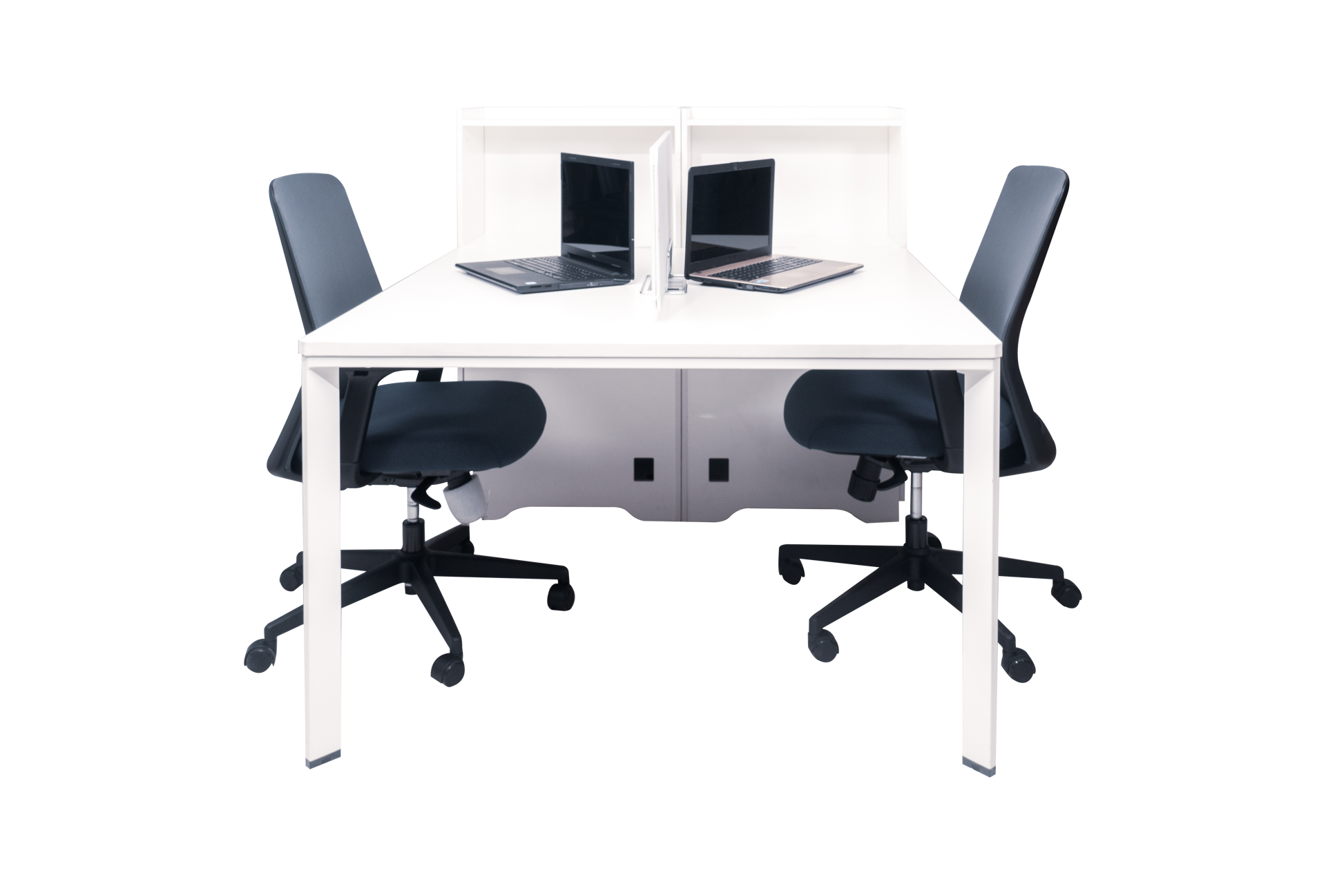 Torch 1500x1200 Desk w/Cupboard & Screen - White