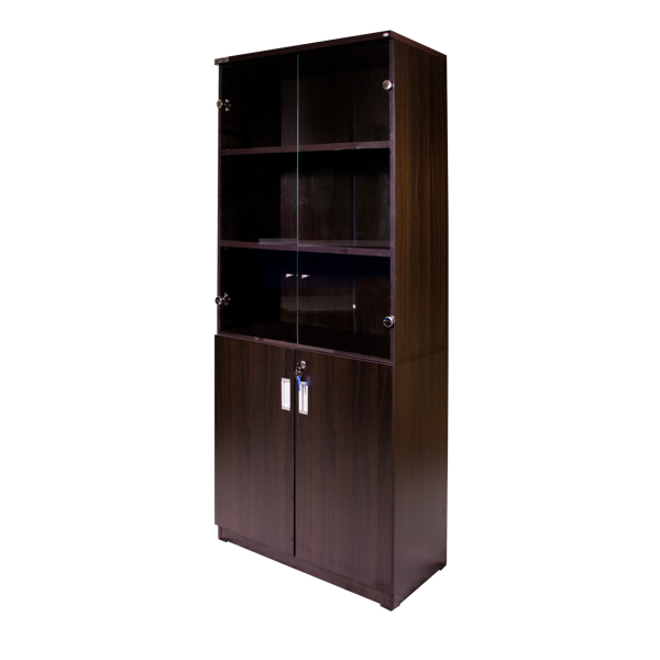 Torch 5-S Cabinet w/Glass & Solid Doors - Black Walnut