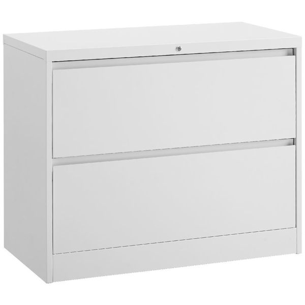 Image 2-Drawer Lateral Cabinet - Grey