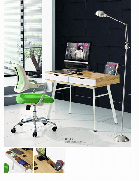 Picture of ST-B1514 Torch 1000 x 600 Metal Base Desk w/2-Drawers - WH/Oak