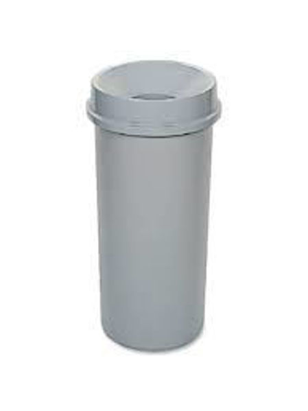 Picture of 05-012 Rubbermaid Round Trash Bin w/Funnel Top Grey (22 gal) #3546