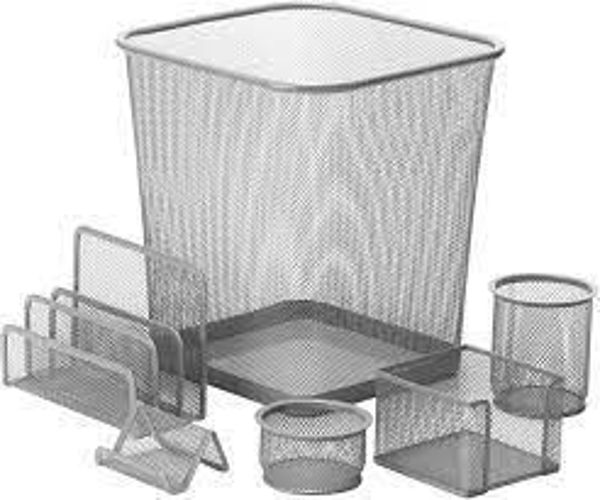 Picture of 24-039 Honey-To-Do Mesh 6-Pcs Desk Set - Silver