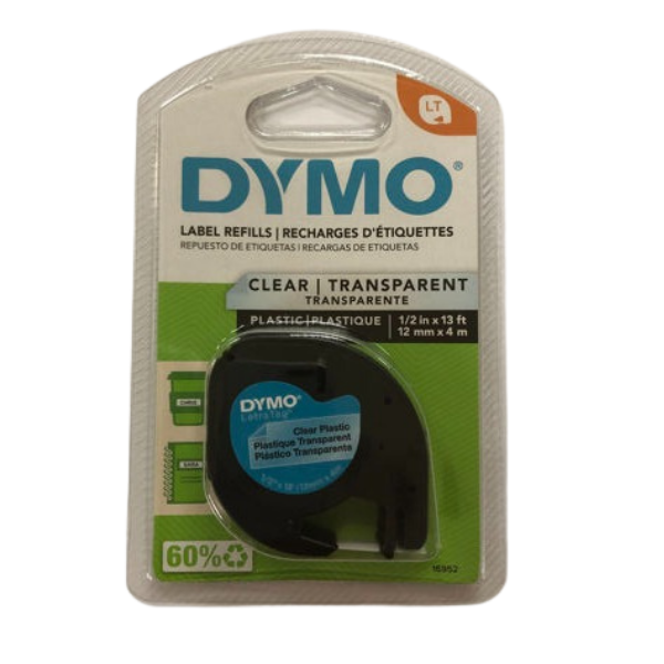 """1/2"""" Dymo Letra Tape- Clear #16952"""